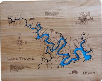 Wood Laser Cut Map of Lake Travis, TX Topographical Engraved Map