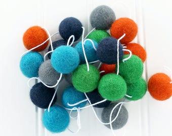 Pom Pom Garland for Playroom or Bedroom, Felt Ball Garland, Nursery Decor, Orange Green and Blue, Felt Ball Bunting, Boys Room Decor