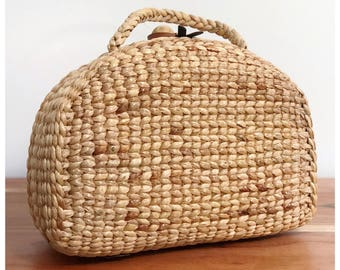FREE US SHIPPING Handwoven straw bag, straw basket bag, straw bag purse, straw bag, picnic tote, market tote  (Picnic small)