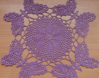 Butterfly Doily, Purple Crochet Doily, Purple Doily, Crochet Doily, Home Decor, Table Decoration, Purple Lace Doily, Lace Doily, Placemat