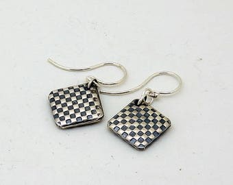 Oxidized Checkerboard Square Drops