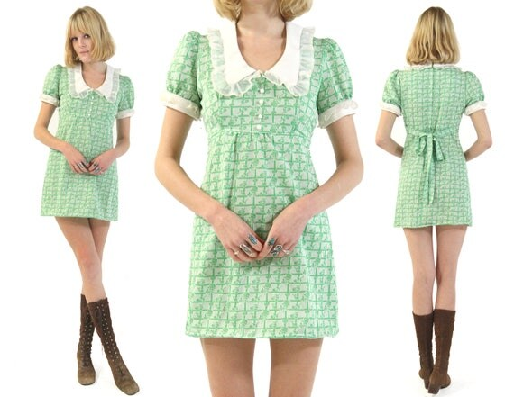 Vtg 60s Peter Pan Collar Floral Mini Dress S/M