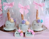 16 Unicorn Chocolate dipped candy apples individually wrapped with ribbon.  Unicorn party favors.