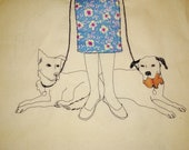 A custom embroidery of two dogs