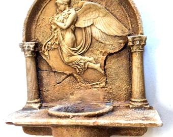 Neo Classic Sculptural Angel Wall/Garden Plaque/Planter/Feeder in Antique Stone Look