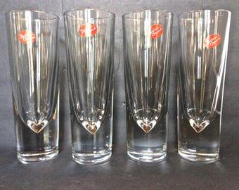 Set of 4 Gump's Italian Brunch Tall/Flute Barware Glasses, Weighted Bullet Bottom Stickered