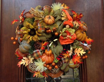 Cute Fall Witch in a Burlap and Mesh Wreath