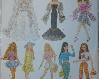 "Simplicity Pattern 4719 for Wardrobe for 11 1/2"" Dolls Such As Barbie"