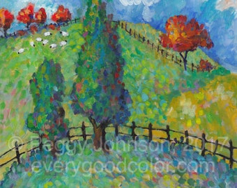 joyful rolling hills trees fence country hillside impressionistic landscape giclee print choose your size Peggy Johnson