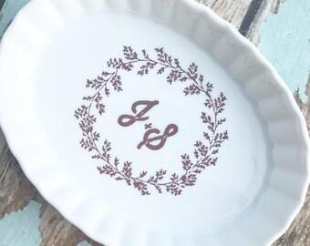 Custom jewelry dish with wedding logo or invite, wedding gift, bridal shower gift, wedding invitation, ring holder, bridal ring holder