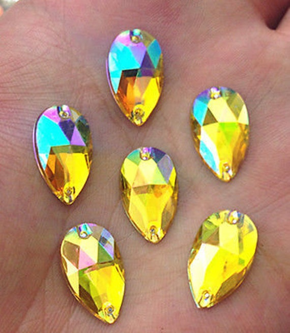 50pcs Yellow Gold AB 18mm*11mm Flat Back Tear Drop Sew On Acrylic Rhinestones Embellishment Gems C16