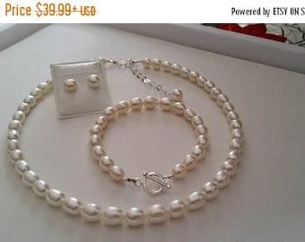 ON-SALE Jewelry Set - Flower Girl Set,  Freshwater Pearl, Sterling Silver, Necklace, Bracelet, Earrings, First Cummunion Gift, Birthday Gift