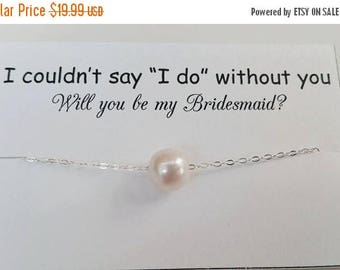 ON-SALE BRIDESMAID Necklace - Floating Single Pearl Necklace, Sterling Silver, Choker Necklace, Wedding Gift, June Birthstone - Genuine Pear