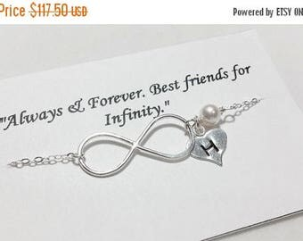 ON-SALE SET of Five - Infinity and Initial Sterling Silver Bracelet - Mother's Gift, Bff Bracelet - Always & Forever Best Friend for Infinit