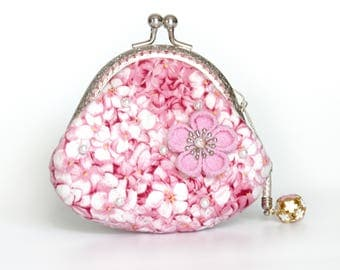 3.5'' Coin Purse - Pink Lady Packed Hydrangea