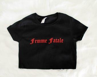 Femme Fatale Graphic Print Women's Crop Shirt S M L Xl Xxl 3Xl