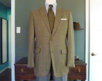 Vintage Corbin for ELJO'S 100% Wool Glen Plaid Prince of Wales Trad / Ivy League Tweed Sack Jacket Sport Coat Size 44 R.  Made in USA.