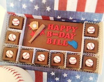 Chocolate Birthday Baseball Gift - Happy Birthday - Baseball Chocolate Squares - Unique Gift for Dad - Birthday Chocolates - Baseball Lover