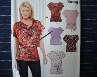 2000s New Look sewing pattern 6915 misses set of tops size 8-18 UNCUT