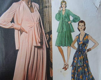 vintage 1970s Vogue Americana Teal Traina sewing pattern 1074 misses evening jacket and dress size 12 UNCUT