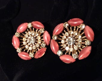 Beautiful rhinestone with pink moonglow glass gold-toned clip earrings.