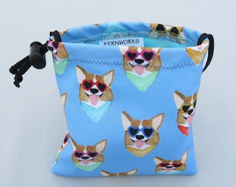 Corgis in Sunglasses  Dog Treat Pouch