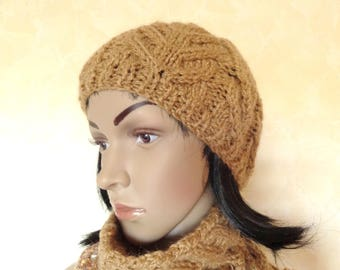 Knit Beanie, beret, women hat is made with light brown wool.