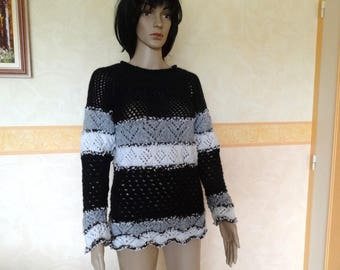 Knitted sweater stitch openwork fashion women, women clothes by hand.