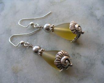 Yellow Earring, Yellow Frosted Glass Teardrop Beaded Earrings, Silver Gray Pearl, Sea Shell Earrings, Gift for her, Summer Earring, Weddings