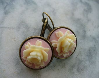 Ivory Rose, Soft Pink Cameo, Floral Earring, Flower Earring, Floral Jewelry, Leverback French Earwires, Vintage Cabbage Rose Style Flower