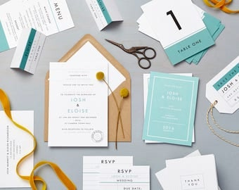 Retro Schoolhouse Blue Wedding Stationery sample pack