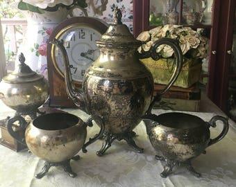 Wm Rogers Silverplate Tea Service 4 piece set
