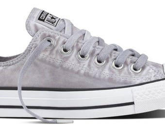 Converse Gray Low Top Wash Monochromatic Custom Kicks w/ Swarovski Crystal Rhinestone Grey Chuck Taylor All Star Mens Ladies Sneaker Shoes