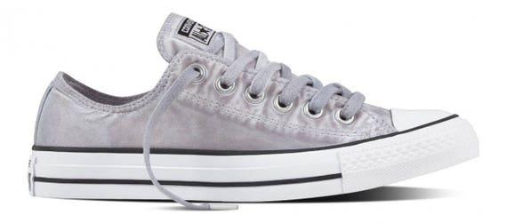 Converse Gray Low Top Wash Monochromatic Custom Kicks w/ Swarovski Crystal Rhinestone Grey Chuck Taylor All Star Mens Ladies Sneaker Shoes