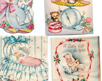 Lot of Vintage Baby Shower Announcement Gift Cards 1943