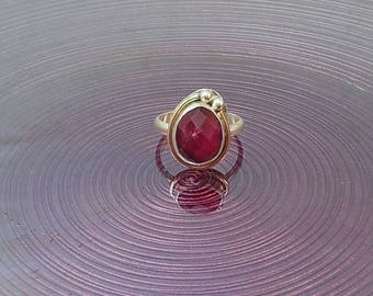 Ruby sterling silver and gold fill ring, ruby ring, ruby jewelry, ruby, sterling silver, gold fill, one of a kind ring, ring size 6