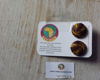 African print Button earrings, African earrings, Fabric button earrings, Button earrings. Fabric earrings, African wax print- brown