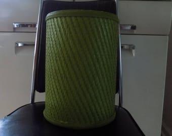 Vintage Lime Green Wicker Trash Can / waste basket