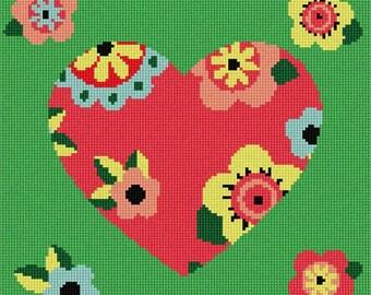 Needlepoint Kit or Canvas: Heart Art Deco