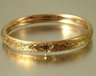 Vintage/ estate jewelry, 1940s / 1950s engraved flower, rolled gold ( gold fill ), bangle - jewelry jewellery
