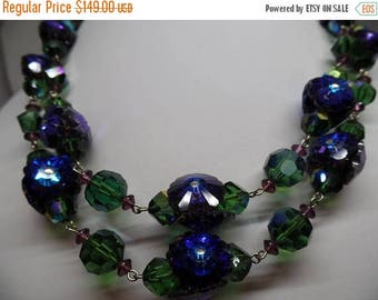 ON SALE VENDOME Signed Vintage Blue, Green and Purple Margarita Crystal Necklace!
