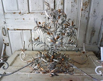 Metal olive branch chandelier lighting golden olives / gray gold branches European toleware lg fixture distressed decor anita spero design