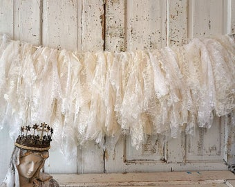 Lace garland wall hanging white with cream all vintage/ antique laces shabby French Nordic heirloom quality home decor anita spero design