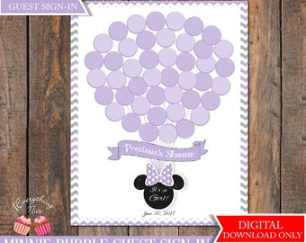 Purple and Gray Grey Minnie Mouse Baby Shower Guest Sign-In