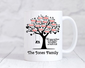 Family Tree Mug - Personalized Gift for Grandma -Family name Gift - Grandpa Mug - Gift for Parents - Family Reunion - Christmas Gift for Mom