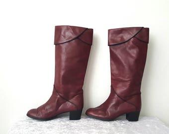 Garnet boots Slouch Boots EUROPEAN size 34 Women's Boots Genuine Leather Boots 80s leather boots