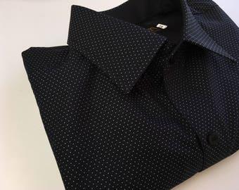 Men's polka dot shirt black base white dots. Woven, no print. Heavy weight quality fabric.