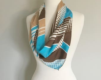 Vintage PRINTED SILK SCARF/Scarf Top/ One Size