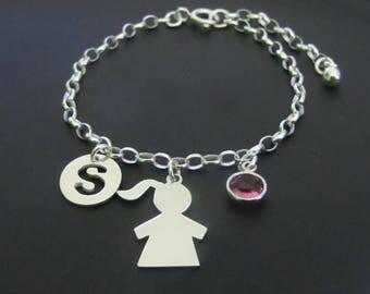 Personalized Girl Bracelet, Birthstone Bracelet, Initial Bracelet, Girl silhouette, Sterling Silver Bracelet, Jewelry, Gift for Her