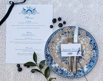 Blue and White menu   invitation suite   Custom Calligraphy Wedding   Wedding   French Blue Collection